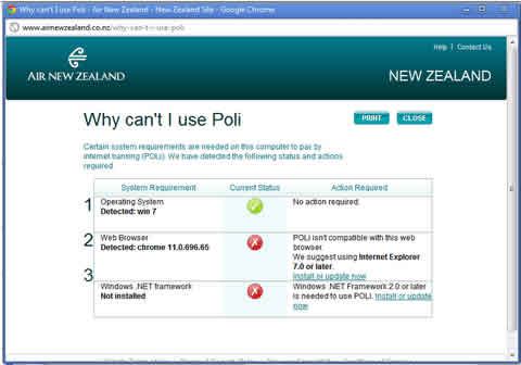 why can't I use internet banking (Poli)
