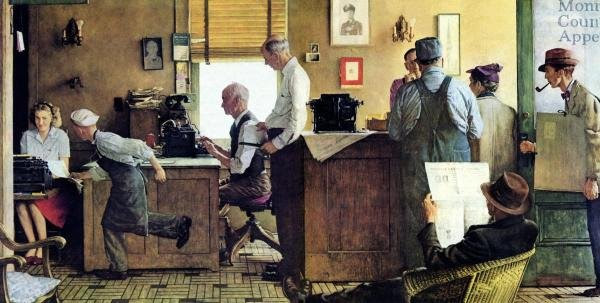 Rockwell painting newspaper office