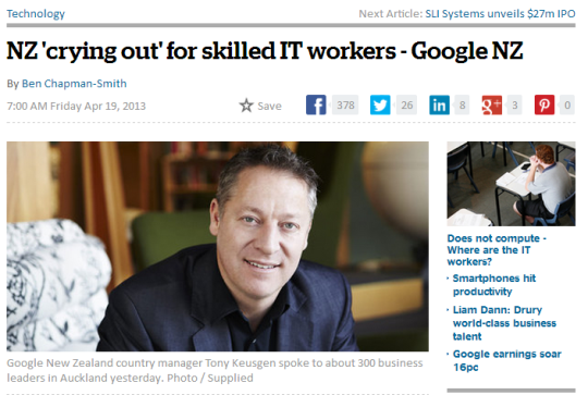 Google NZ scored favourable publicity for its 'training plan' but it isn't philanthropy