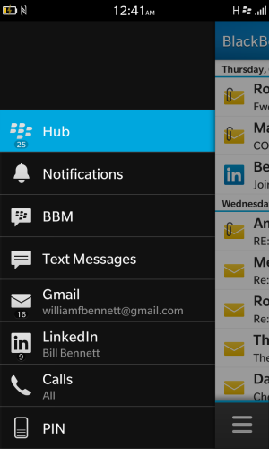The Blackberry Hub pulls mail, Twitter and other incoming services together. It's a good idea, but doesn't always work as expected.