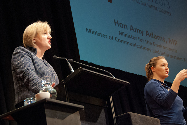 Communications minister Amy Adams addresses NetHui