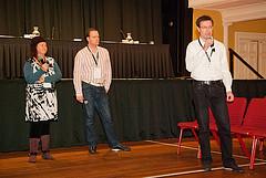 Rochelle Furneaux,  Mathias Ortmann and Bram van der Kolk discuss technologies to protect privacy