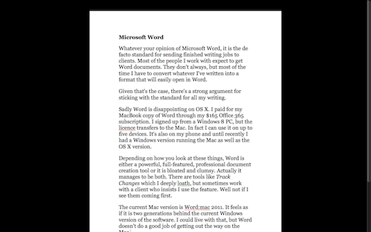 Microsoft Word Mac OS X screen shot