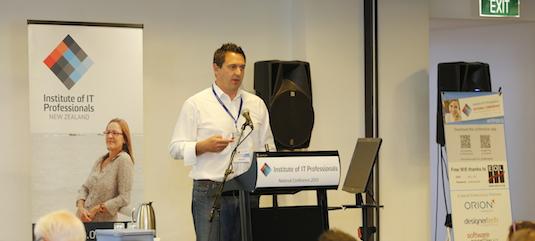 Wynyard Group CEO Craig Richardson presenting 'Innovating for rapid growth'