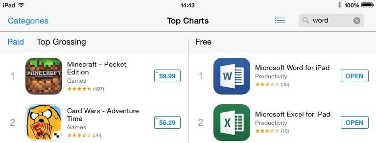Office iPad iTunes store