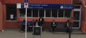 Asian seamen using Lyttleton Library wi-fi