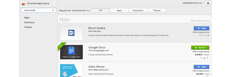 Chrome App Store Microsoft Word