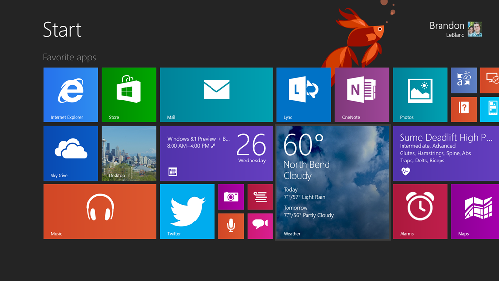 Surface Pro 2 start menu