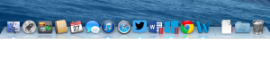 Apple OS X Dock showing Word, Parallels and Windows Word pm