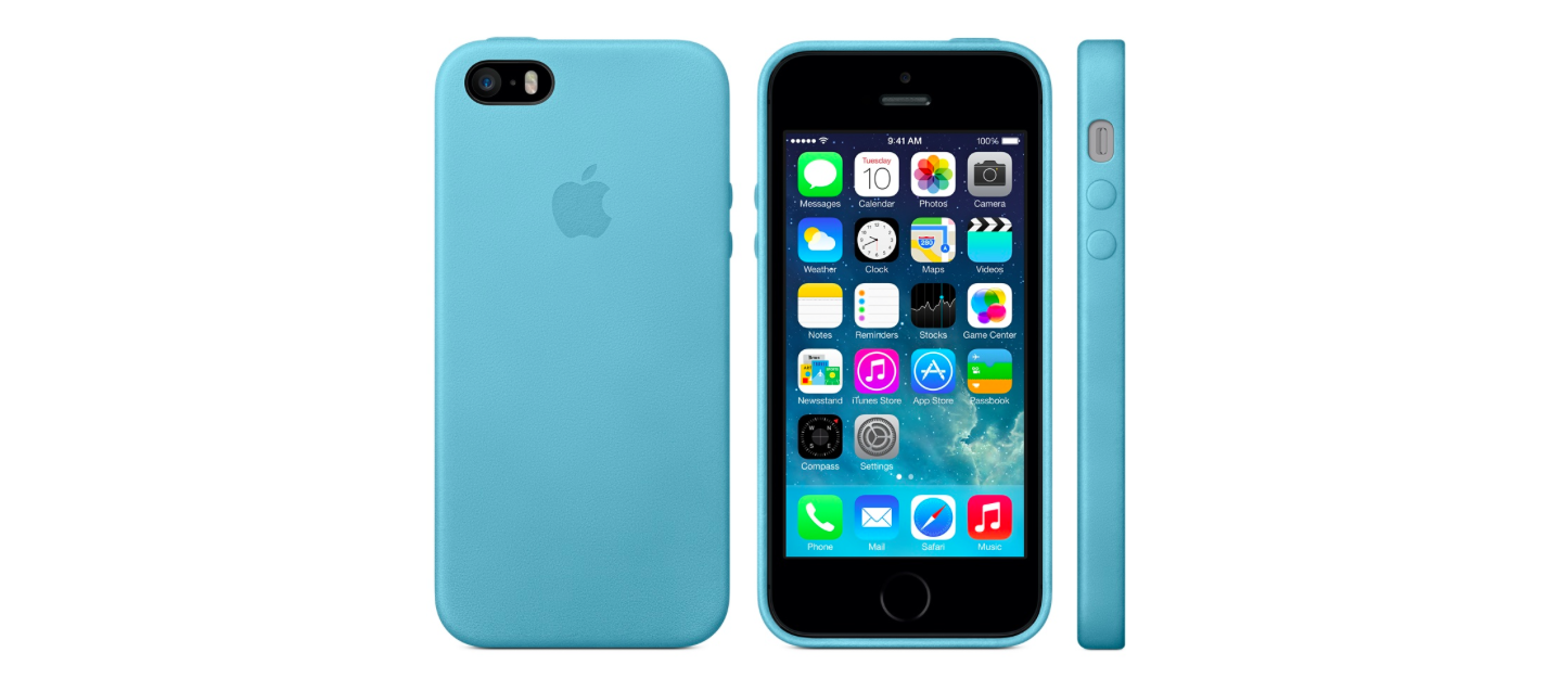 Apple iPhone 5S leather case light blue