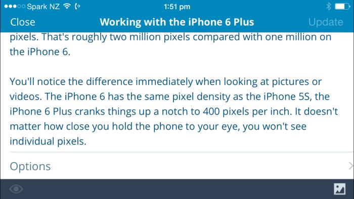 WordPress iOS app on the iPhone 6